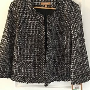 Ellen Tracy Black & White Tweed Blazer Jacket